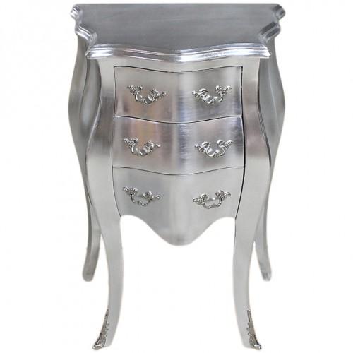 Comoda argintie 3 sertare clasica baroc 50 cm