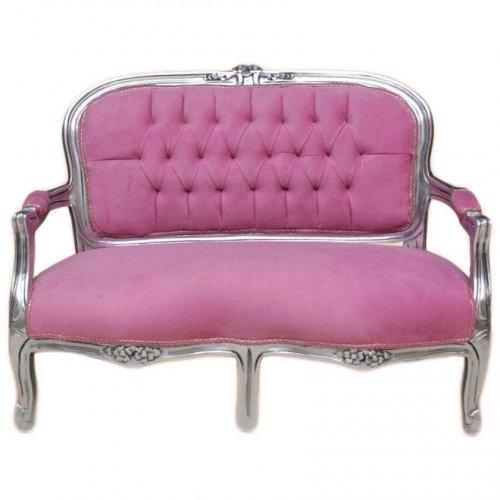 Bancheta copii clasic baroc cadru argintiu / tapiterie roz