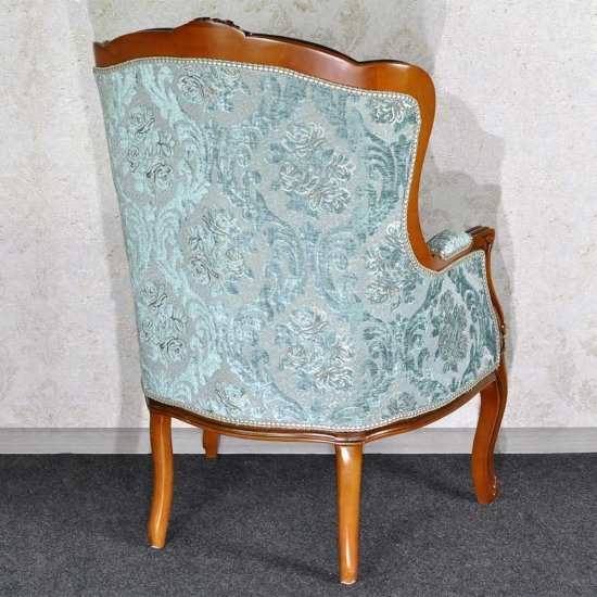 SET Sofa tip sezlong + 2 fotolii, cadru maro - tapiterie turcoaz