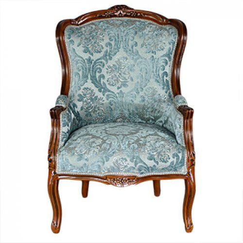 Fotoliu DELUXE tapitat, cadru maro - tapiserie turquoise