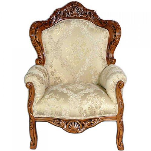 Fotoliu clasic baroc cadru maro / tapiterie brocart imperial