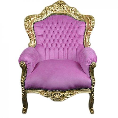 Fotoliu clasic baroc cadru auriu - tapiterie roz