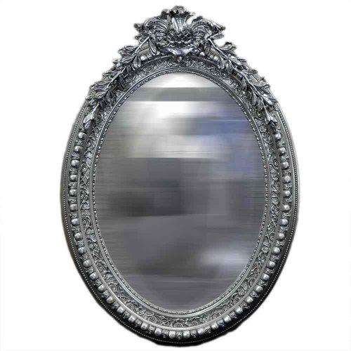 Oglinda baroc ovala argintie 140cm x 75cm