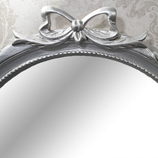 Oglinda lemn masiv argintie 75 x 70cm