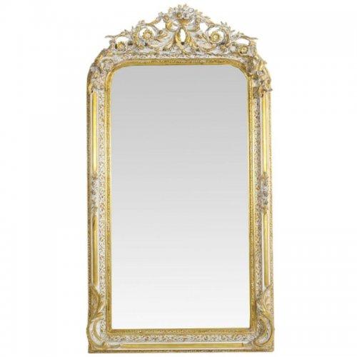 Oglinda baroc ANNE SOPHIE auriu cu patina alba 155cm x 85cm
