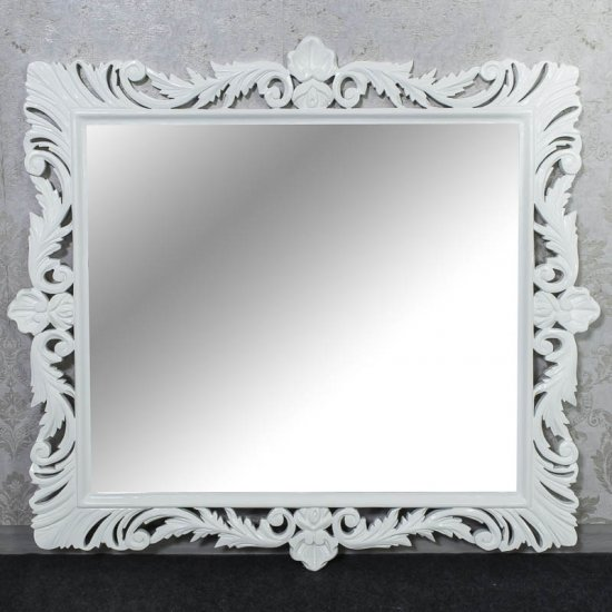 Oglinda baroc alba 95cm x 105cm lemn masiv