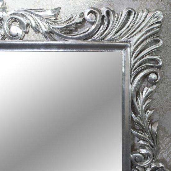Oglinda baroc argintie 95cm x 105cm lemn masiv