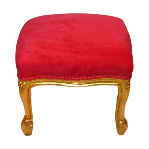 Pufic clasic retro baroc cadru auriu - tapiterie rosie