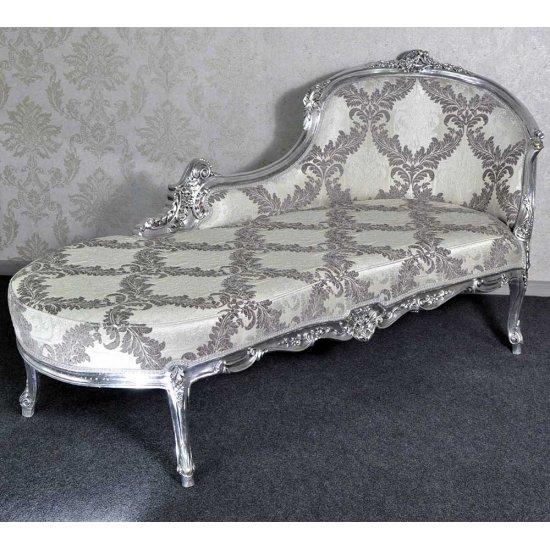 Sofa tip sezlong classic, cadru argintiu - tapiterie gri/argintie