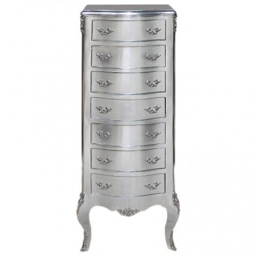 Comoda argintie inalta cu 7 sertare