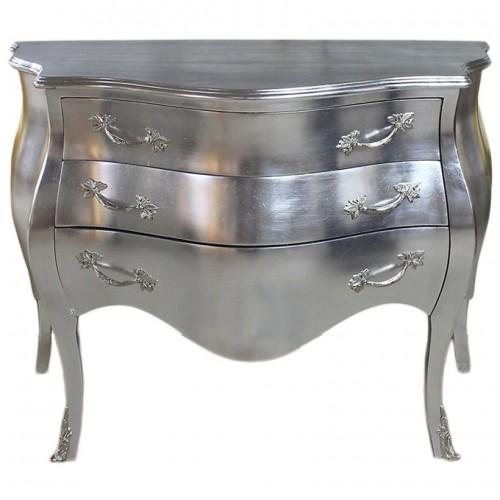 Comoda argintie 3 sertare clasica baroc 115cm