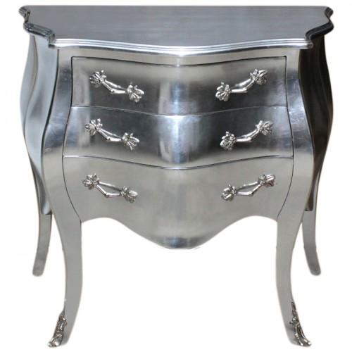 Comoda argintie 3 sertare clasica baroc 80 cm