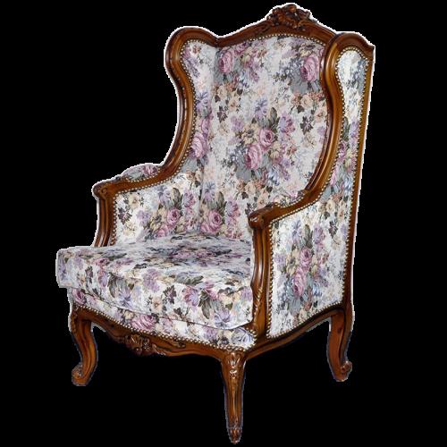 Fotoliu DELUXE baroc cadru maro - tapiserie vintage flowers