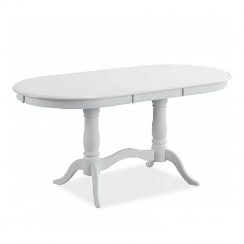 Masa alba ovala dining extensibila -120 160 cm