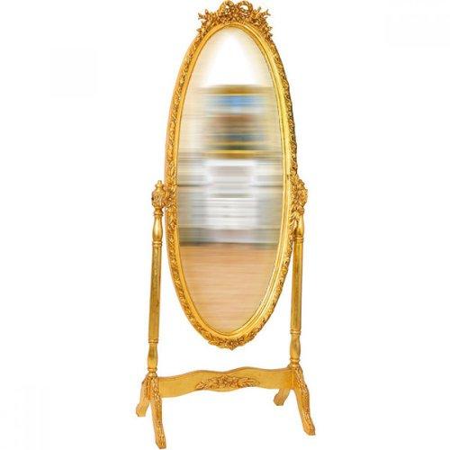 Oglinda baroc aurie ovala cu suport 195cm x 78cm