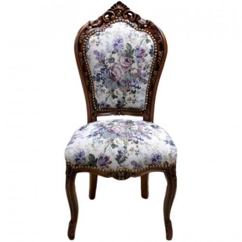 Scaun dining clasic baroc cadru maro / tapiterie vintage