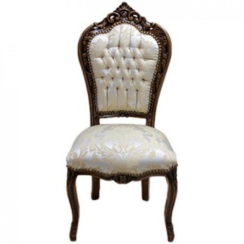 Scaun dining clasic baroc cadru maro / tapiterie bej regal