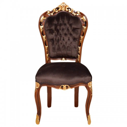 Scaun dining clasic baroc cadru maro&auriu / tapiterie maro