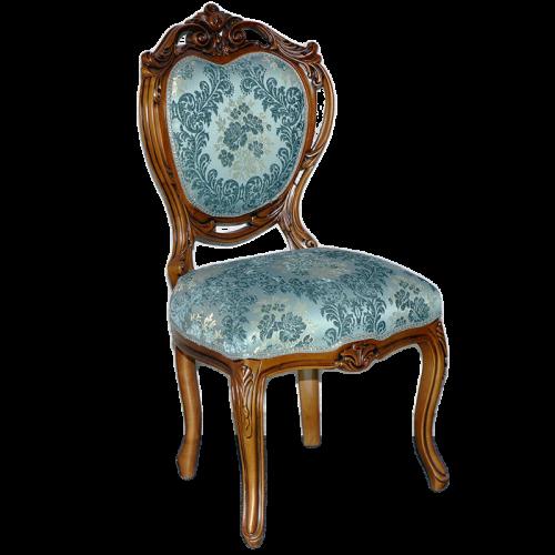 Scaun LUXURY baroc cadru maro / tapiserie turcoaz
