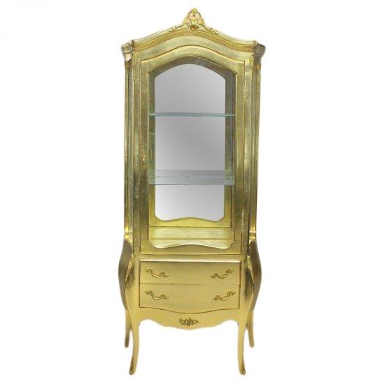 Vitrina aurie clasica stil baroc cu fundal oglinda