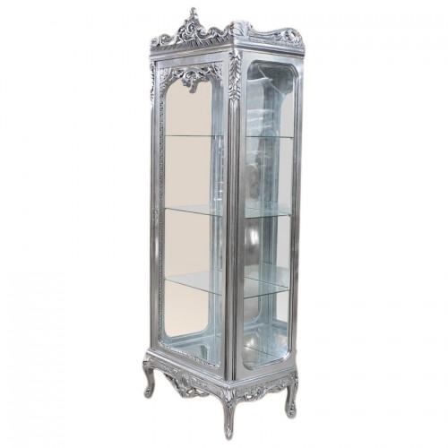 Vitrina argintie clasica stil baroc cu fundal oglinda
