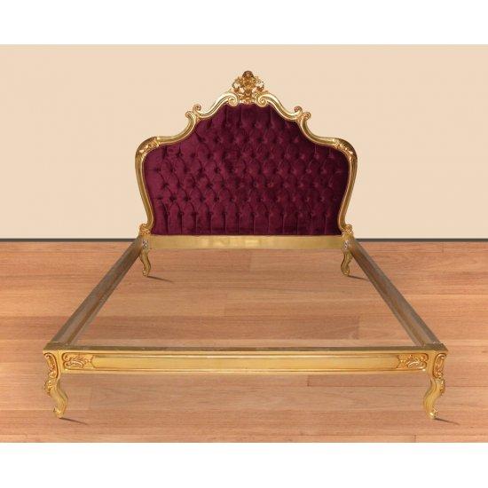"Pat matrimonial baroc ""KING"" 180x200cm tapiterie catifea bordo"