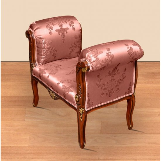 Taburet clasic baroc cadru maro + auriu -roz flowers