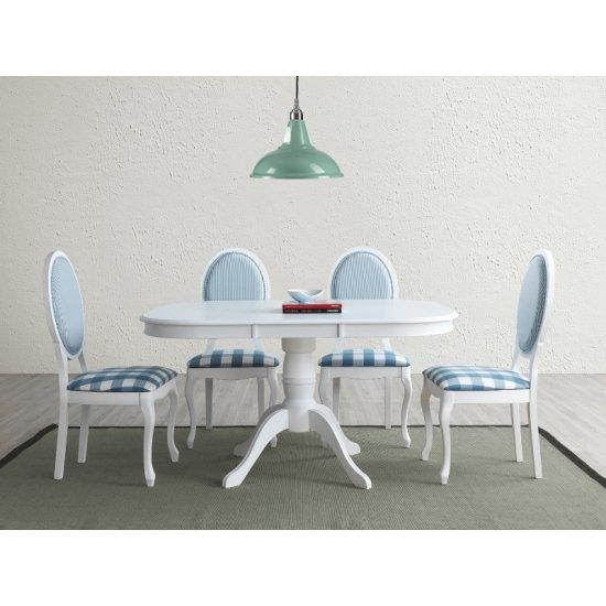 Scaun dining oval cadru alb / tapiterie albastra