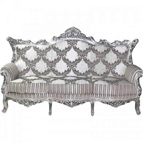 Canapea ROYAL 3 locuri baroc cadru argintiu tapiterie gri