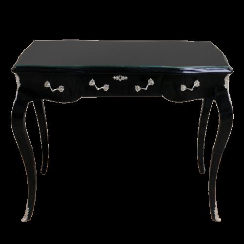 Birou negru clasic stil baroc din lemn masiv - 100 cm