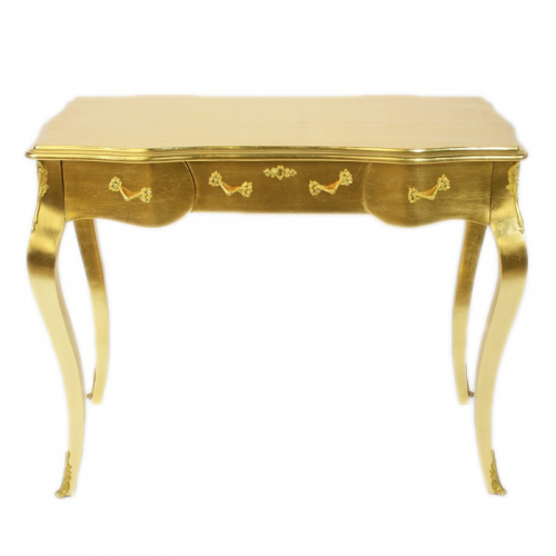 Birou auriu clasic stil baroc din lemn masiv - 100 cm