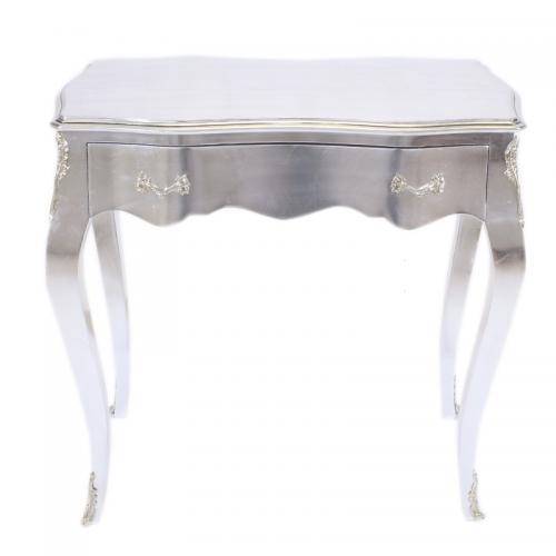 Birou argintiu clasic stil baroc din lemn masiv - 80 cm