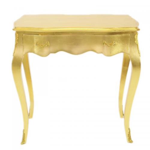 Birou auriu clasic stil baroc din lemn masiv - 80 cm