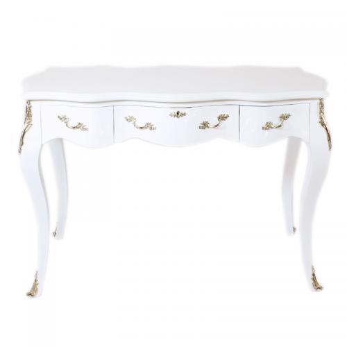 Birou alb clasic stil baroc din lemn masiv - 120 cm
