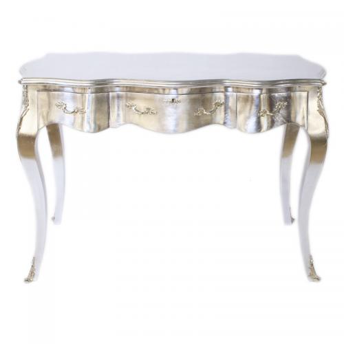 Birou argintiu clasic stil baroc din lemn masiv - 120 cm