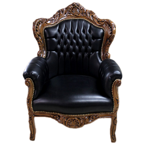 Fotoliu clasic baroc cadru maro / tapiserie neagra
