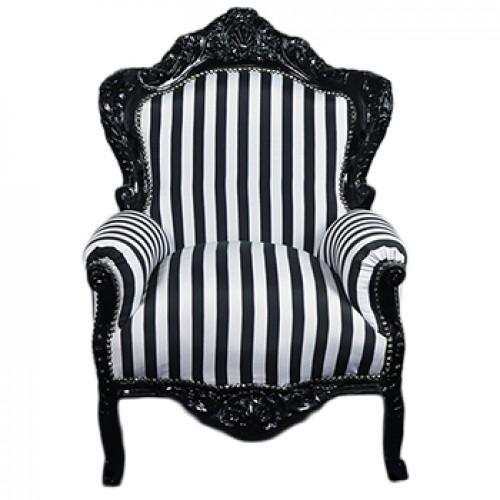 Fotoliu clasic baroc cadru negru - tapiterie dungi