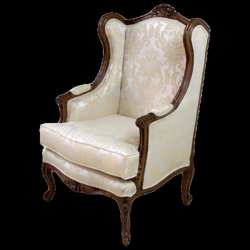 Fotoliu DELUXE baroc cadru maro - tapiserie bej regal
