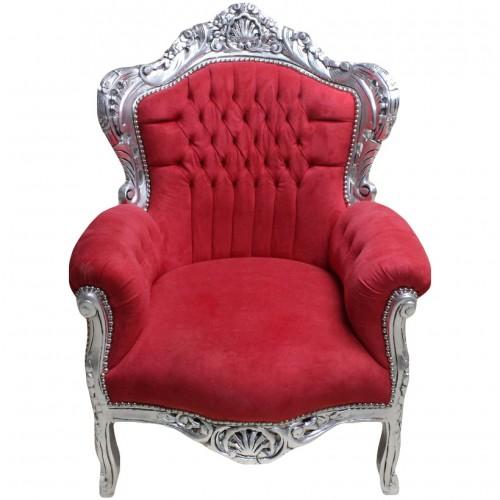 Fotoliu clasic baroc cadru argintiu - tapiterie rosie