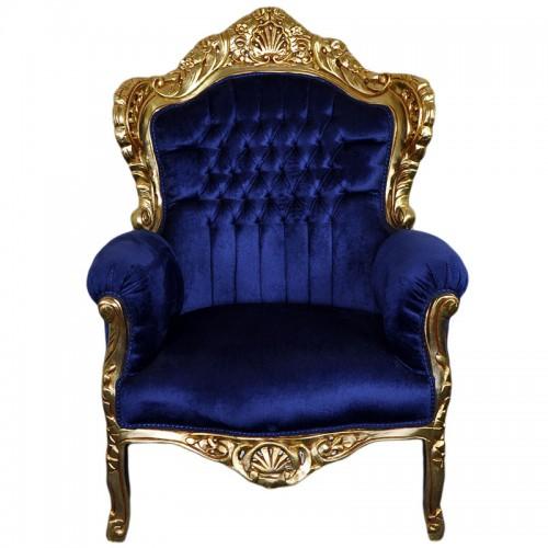 Fotoliu clasic baroc cadru auriu - tapiterie bleumarin