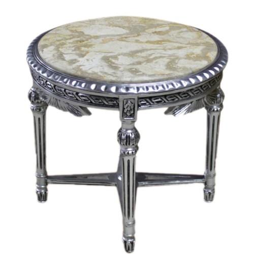 Masuta circulara argintie clasica stil baroc 60cm