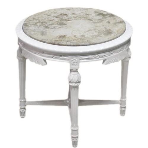 Masuta circulara alba clasica stil baroc 60cm