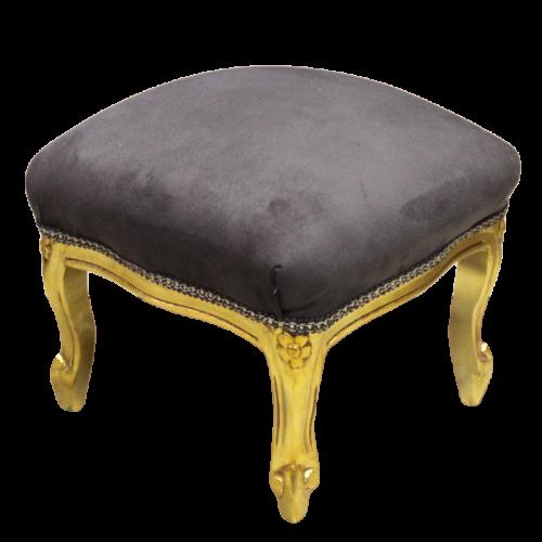 Pufic clasic retro baroc cadru auriu - tapiterie maro