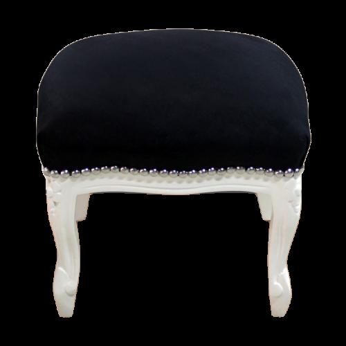 Pufic clasic retro baroc cadru crem - tapiterie neagra