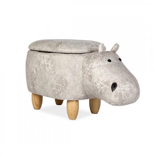 """Pufic copii gri ''HIPPO"""" cu ladita"""