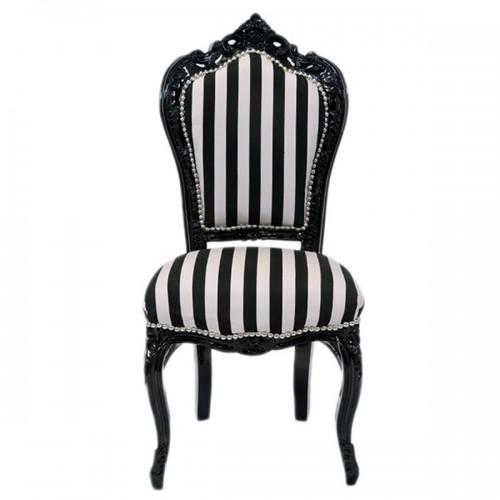Scaun dining clasic baroc cadru negru / tapiterie dungi