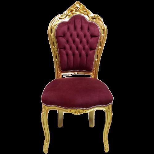 Scaun dining clasic baroc cadru auriu / tapiterie bordo