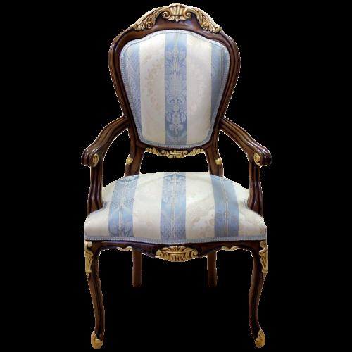 Scaun LUXURY baroc cadru maro&auriu / tapiserie royal bleo