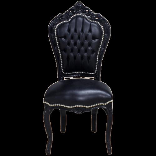 Scaun dining clasic baroc cadru negru / tapiterie neagra