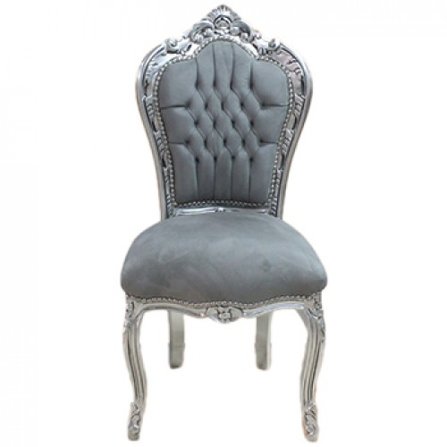 Scaun dining clasic baroc cadru argintiu / tapiterie gri